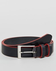 Asos Smart Slim Leather Belt With Contrast Painted Edges Black Red