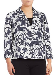 Lafayette 148 New York Bellene Floral Print Cropped Jacket Blue White Combo