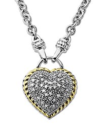Lord And Taylor Diamond Heart Pendant In Sterling Silver With 14 Kt. Yellow Gold 0.25 Ct. T.W.