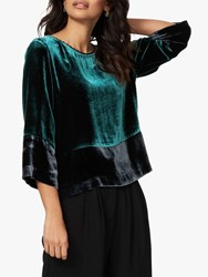 Brora Velvet Silk Blend Colour Block Blouse Teal Ink
