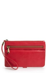 Hobo Roam Leather Wristlet Red Geranium
