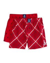 Psycho Bunny Cotton Boxer Shorts 2 Pack Set Red