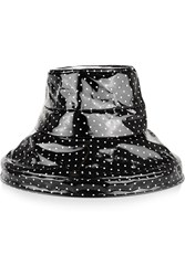 Dolce And Gabbana Polka Dot Coated Cotton Rain Hat Black