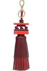 Anya Hindmarch Space Invaders Leather Tassel Keychain Merlot