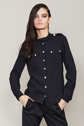 Anthony Vaccarello X Versus Military Style Shirt Black