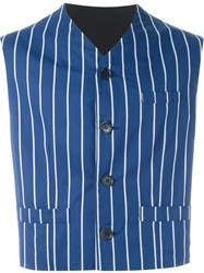 Dolce And Gabbana Vintage Striped Waistcoat Blue
