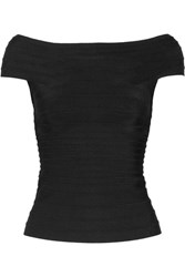 Herve Leger Pamela Off The Shoulder Bandage Top Black