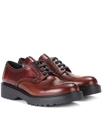Prada Leather Lace Up Brogues Brown