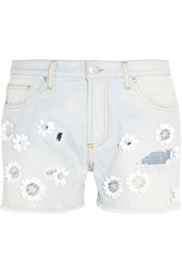 Msgm Floral Appliqued Denim Shorts Blue
