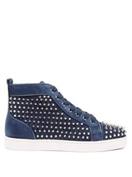 Christian Louboutin Louis Orlato Studded Suede High Top Trainers Navy