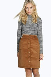 Boohoo Cord Button Front Mini Skirt Camel