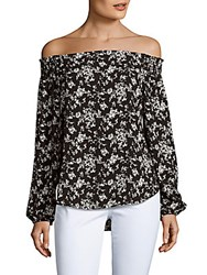 Eight Sixty Floral Printed Off The Shoulder Top Black