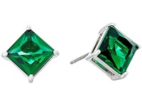 Lauren Ralph Lauren Estate Faceted Stone Stud Earrings Green Silver Earring