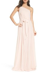Amsale 'S One Shoulder Chiffon A Line Gown Blush