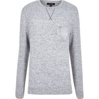 River Island Mens Grey Marl Long Sleeve Crew Neck Jumper