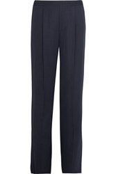 Vince Pleated Washed Satin Wide Leg Pants Navy