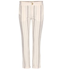 Current Elliott The Buddy Linen And Cotton Cropped Trousers Neutrals