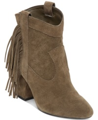 Jessica Simpson Wyoming Western Fringe Booties Women's Shoes Dark Olive