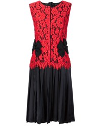 Marc Jacobs Pleated Floral Lace Dress Red