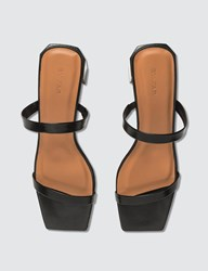 By Far Tanya Black Semi Patent Leather Sandals