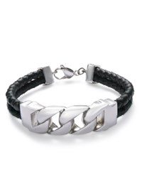 Sutton By Rhona Sutton Men's Stainless Steel Black Leather Bracelet Silver