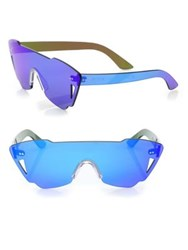 Kyme Tamara Mirrored Shield Sunglasses Blue