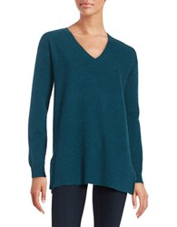 Lord And Taylor Cashmere V Neck Sweater Teal Heather