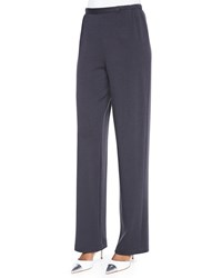 Caroline Rose Straight Leg Flat Knit Wool Pants Black