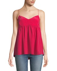 7 For All Mankind Silk Babydoll Camisole Top Hot Pink