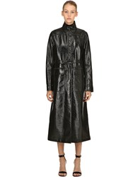 Courreges Logo Wrinkled Vinyl Long Trench Coat Black