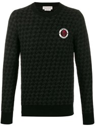 Alexander Mcqueen Houndstooth Pattern Knitted Sweater Black