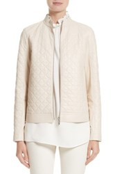 Lafayette 148 New York Women's Becks Quilted Lambskin Leather Moto Jacket Oyster