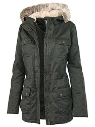 Fat Face Poole Faux Fur Hooded Jacket Green