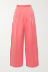 Christopher Kane Pleated Satin Wide Leg Pants Coral