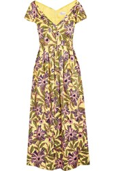 Red Valentino Redvalentino Pleated Floral Print Cotton Blend Midi Dress Yellow