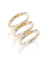 Cast Of Vices 14K Gold And Sterling Silver Cracked Band Rings Set Of 3