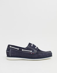 Pier One Boat Shoes In Navy Suede
