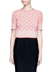 Alexander Mcqueen Check Jacquard Effect Knit Cropped Sweater Red