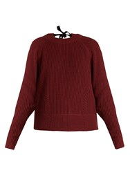 Muveil Tie Back Cable Knit Cotton Blend Sweater Burgundy