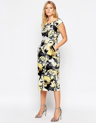 Liquorish Culotte Jumpsuit With Lace Insert In Floral Print Floral Print
