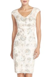 Women's Sue Wong Embroidered Sequin Sheath Dress Blush