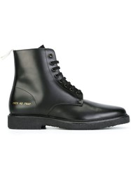 Common Projects Ankle Length Tie Up Boots Black