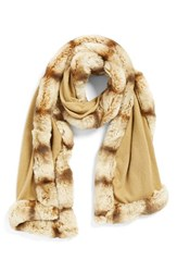 Women's Badgley Mischka Faux Fur Trim Wrap Brown Camel Alm