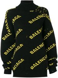 Balenciaga Laddered Logo Turtleneck Sweater Black