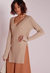 Missguided V Neck Knitted Rib Tunic Camel Beige