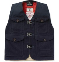 Nigel Cabourn Cameraman Converse Waxed Harris Wool Tweed Gilet Navy
