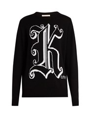 Christopher Kane Intarsia Knit Wool Sweater Black White