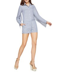 Bcbgmaxazria Clarence Striped Cape Short Jumpsuit Chambray