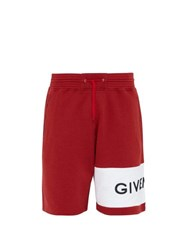 Givenchy Logo Embroidered Cotton Shorts Red