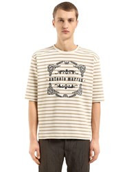 Antonio Marras Striped Cotton Jersey Sweatshirt Off White Beige